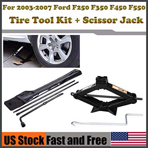 new arrival Bowoshen for Ford online sale 03-07 F250 F350 F450 F550 Spare Tire Tool Lug Wrench Kit+ Heavy Duty Scissor Jack discount 2 Tonne outlet online sale