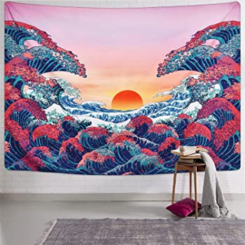 Ocean Wave Tapestry Sunset Tapestry 3D Great Wave Tapestry Japanese Tapestry for Room