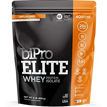 BiPro ELITE 100% Whey Isolate Protein Powder, Unflavored 2 Pounds - NSF Certified for Sport, Sugar Free, Suitable for Lactose Intolerance, Gluten Free
