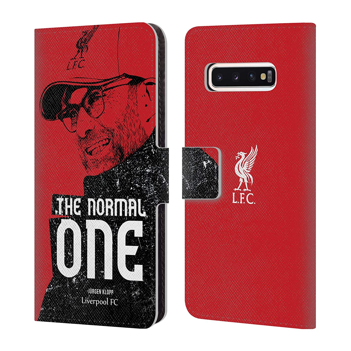 Official Liverpool Football Club Shoulder Red Jurgen Klopp Illustrations PU Leather Book Wallet Case Cover Compatible for Samsung Galaxy S10