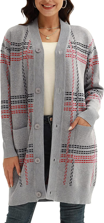 CURLBIUTY Women Open Front Long Cardigan Button Down Long Sleeve Pocket Sweater