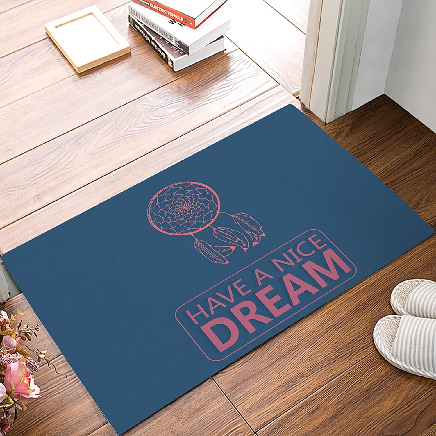 Non-Slip Door Mat Entrance Rug Rectangle Absorbent Moisture Floor Carpet Indoor Outdoor Dreamcatcher, Have a Nice Dream Text Pattern Doormat 20x31.5 inch