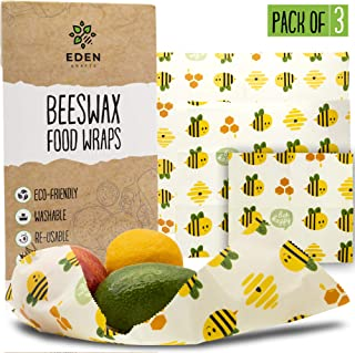 Beeswax Food Wrap Set   3- Pack Reusable Bees Wax Cover Paper Wraps for Food Storage   Eco Friendly, Sustainable, Plastic Free Beeswrap Set  Small, Medium & Large Bee Wrap for Home & Outdoors