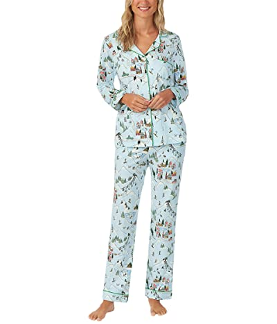 BedHead Pajamas Long Sleeve Classic Notch Collar Pajama Set (Cotton Spandex) (Blue Skil Village) Women