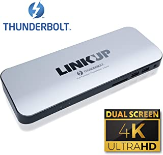 [Certificado] LINKUP - Thunderbolt 3 Dock/Estación de Dock de Aluminio | HDMI 2.0 con Verdadero Cable de Poder de 60W | Windows & Mac (No Compatible con Puertos USB-C sin el Logo de Thunderbolt)