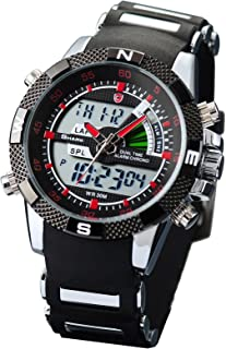 HELMASK Watch - Rubber Black Round Man Mens Men boy Analog Date Day 24hour 2 time Zone Dual time Zone Wrist Watch