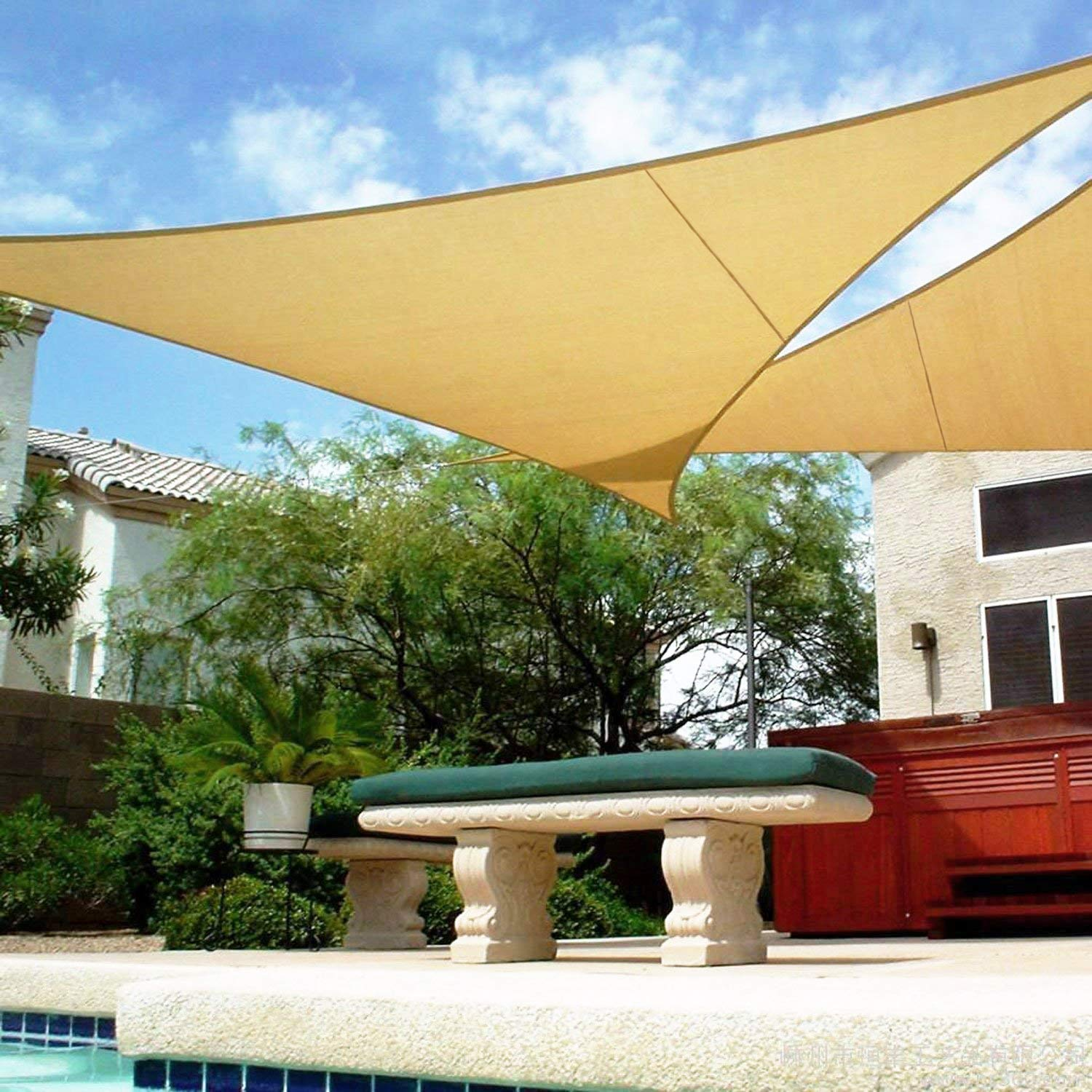 Shadeu0026Beyond Triangle Sun Shade Sail 16u0027 x 16u0027 x 16u0027 Canopy Sand for Patio Garden Yard Deck Pergola  sc 1 st  Amazon.com & Best sun tarps for patios | Amazon.com