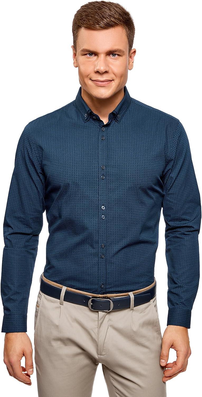 oodji Ultra Hombre Camisa de Algodón con Decoración Gráfica Pequeña