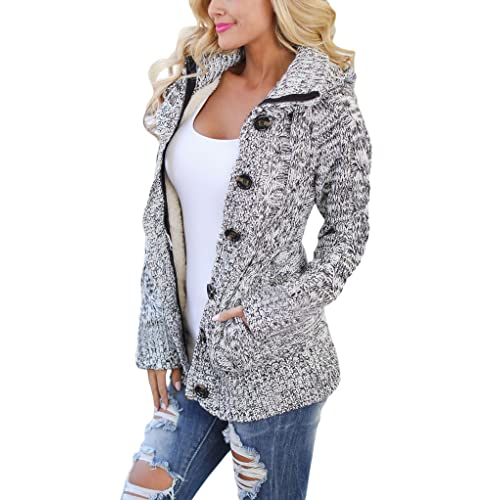 a051dd6d9 Sidefeel Women Hooded Knit Cardigans Button Cable Sweater Coat