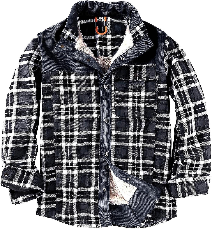 Men's Winter Cotton Plaid Jacket Thick Fuzzy Warm Corduroy Plaid Button Up Flannel Shirt Jacket for Men