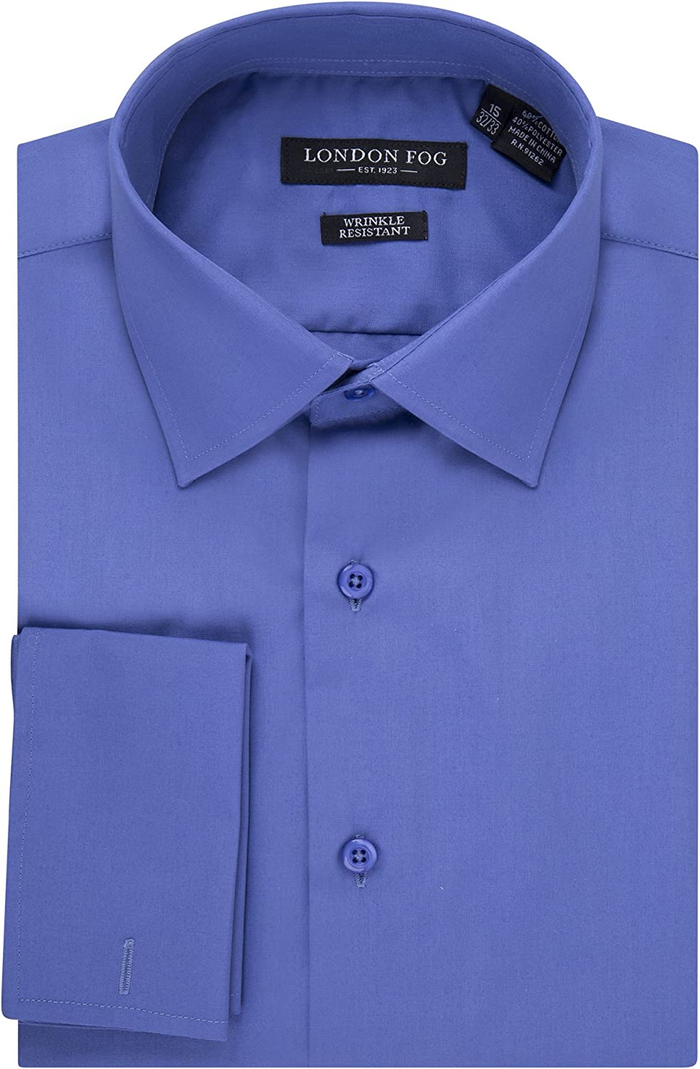London Fog Men's Slim Fit Spread Collar French Cuff Solid Dress Shirt - Colors