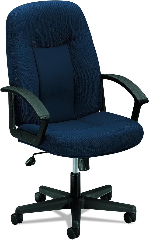 HON Executive High-Back Swivel Tilt Chair, Navy Fabric Black Frame (HVL601)