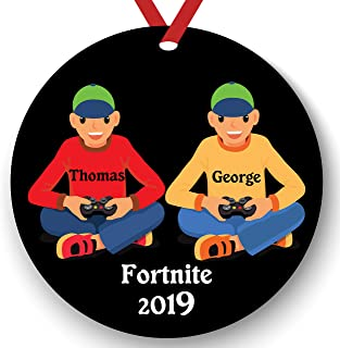 Personalized Video Game Player Friends Boy Playing Video Game Christmas Ornament 2019 Free Personalization (White Friends)
