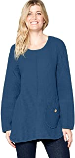 Focus Fashion Women's Cotton Feather Waffle Pocket Tunic Top