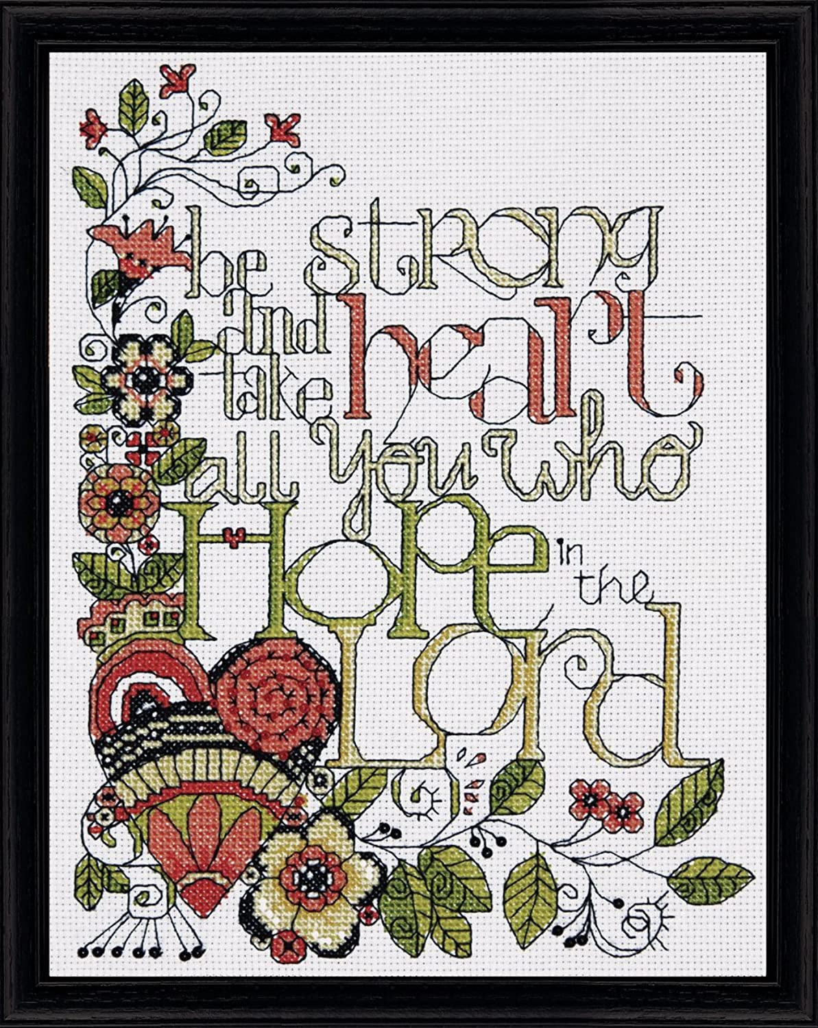 Tobin DW2795 14 Count Heartfelt be Strong Counted Cross Stitch Kit, 8 by 10-Inch