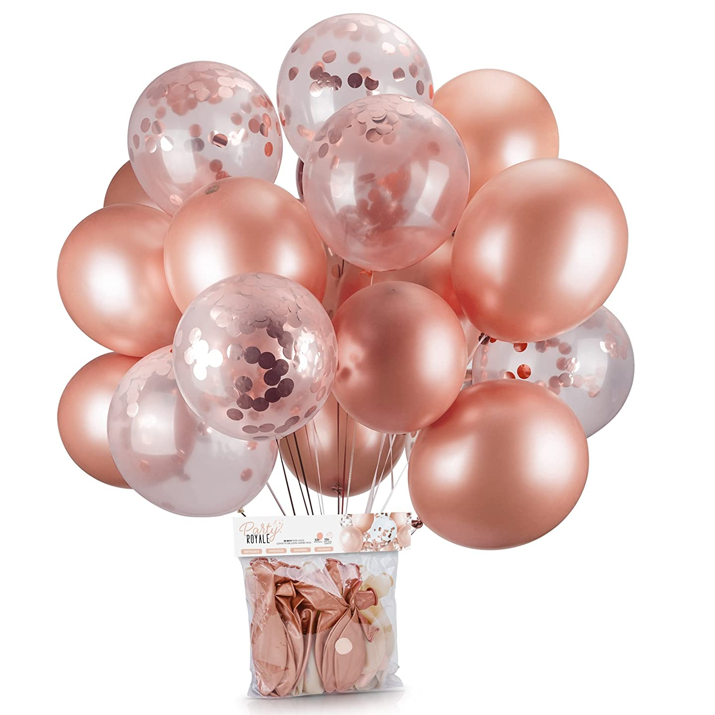 Rose Gold Balloons & Rose Gold Confetti Balloons Pack of 24 - 18 Inch Premium Latex Balloons Perfect for Rose Gold Party Decorations, Birthday Party, Bridal Shower, Baby Shower, Weddings, Engagements