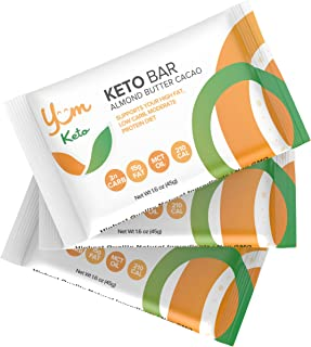 YUM Keto Bar, Almond, MCT Oil and Cacao Butter (6 Count) - Keto Snacks Low Carb Chocolate Keto Food - Ketogenic, Paleo, Low Carb and Glycemic Diet Friendly - 3g Net Carbs