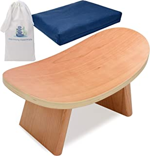 Harmony Essentials Meditation Bench with Meditation Cushion - Portable, Eco Friendly, Ergonomic Seat - Travel Bag Included