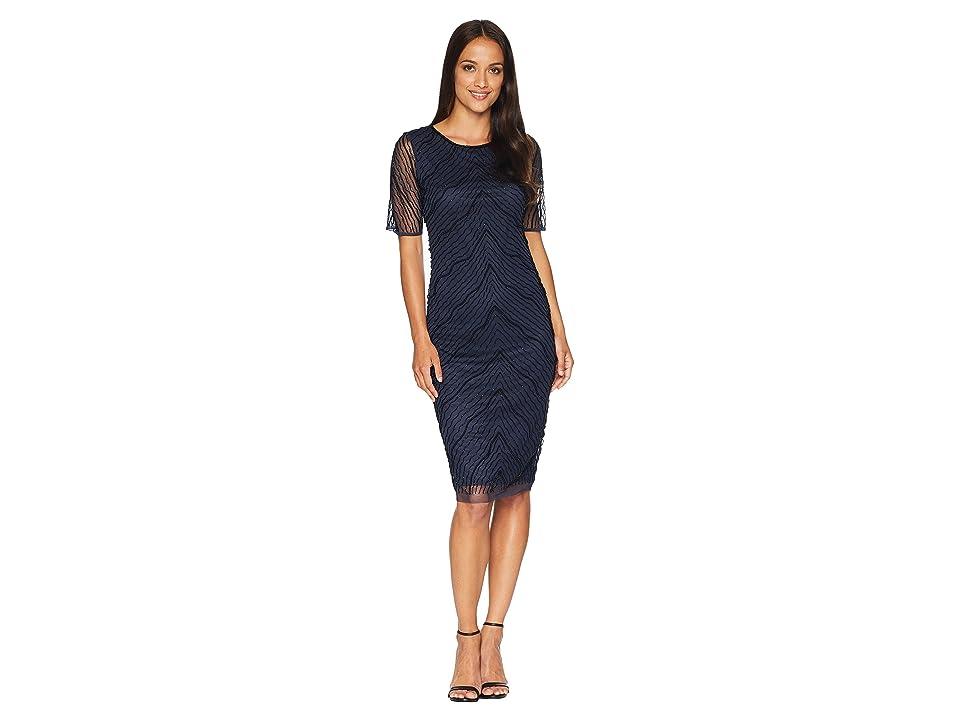 Adrianna Papell Short Sleeve Fully Beaded Cocktail Dress (Navy/Black) Women