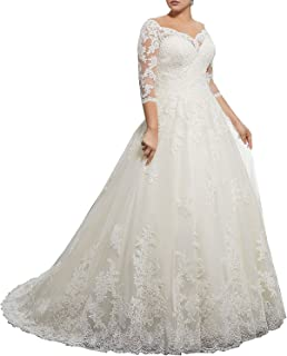 d442b8aecd Women's Plus Size Bridal Ball Gown Vintage Lace Wedding Dresses for Bride  with 3/4