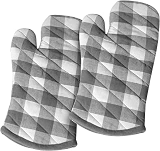 Cotton Clinic Gingham Buffalo Check 100% Cotton Oven Mitts Gloves Set of 2, Heat Resistant for Everyday Kitchen Cooking Baking BBQ - Gray White