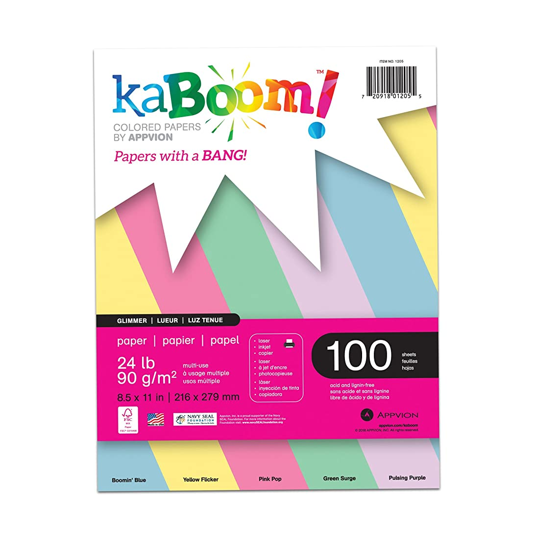 Kaboom Glimmer Pastel Assorted Colored Paper, 8.5