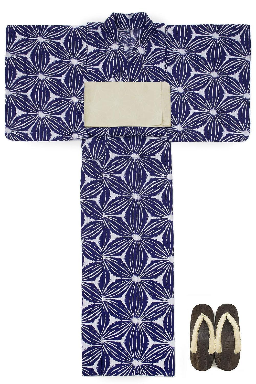 (ソウビエン) 浴衣 セット レディース 紺色 群青色 ネイビー 麻の葉 綿麻 半幅帯 マクレ ボヌールセゾン