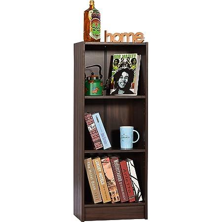DeckUp Lexis 3-Shelf Bookcase and Storage Unit (Walnut, Matte Finish , Set of 3 Shelves)