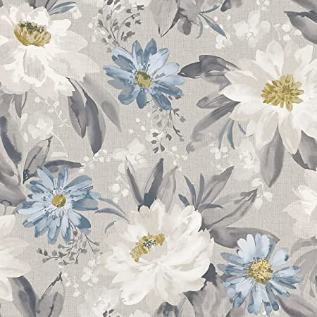 Arthouse 676105 Painted Dahlia Wall Paper/Coverings, Grey, One Size