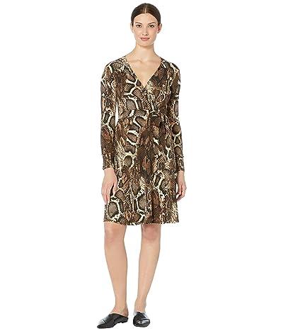 Donna Morgan Long Sleeve Mock Wrap Dress In Python (Black/Taupe) Women