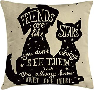 Ambesonne Inspirational Throw Pillow Cushion Cover, Cat and Dog Silhouettes with Friendship Themed Phrase and Stars Grungy Display, Decorative Square Accent Pillow Case, 18