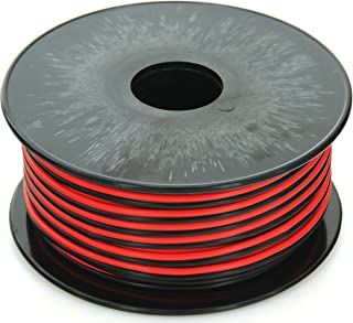 GS 18 AWG (American Wire Gauge) 100 FT Red & 100 FT Black (200 Feet total) stranded Pure Copper Zip Cord Low Voltage Automotive Power Ground Cable for Car Amplifier Trailer Harness Hookup Wiring