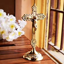 Hashcart Brass Christian Cross Jesus Christ Statue In Antique Finish