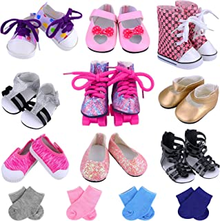 Ecore Fun American 18 inch Girl Doll Accessories Includes 9 Pairs of Shoes and 4 Pairs of Socks Fit for 18 Inch Girl Doll - Sandals, Casual Shoes, Canvas Shoes, Roller Skates ect