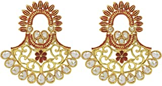 Jewelsiya Gold Plated Ethnic Gemoetric Shape With Red Flower Indian Drop And Dangler Earring For Womens And Girls