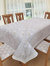 Clasiko 6 Seater PVC Table Cover; White Flowers On Grey Base; Anti Slip; 60x90 Inches; 6 Seater