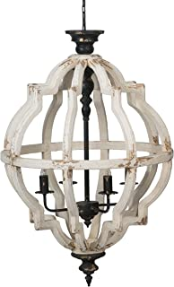 A&B Home Distressed White 4-Light Chandelier, Dimensions: 23.6L x 23.6W x 35H Inches,