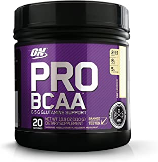 Optimum Nutrition Pro BCAA Powder with Glutamine, Unflavored, Keto Friendly Branched Chain Amino Acids, 20 Servings, 10.9 ...