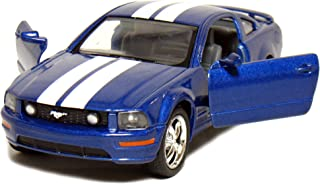 """5"""" Die-cast 2006 Ford Mustang GT 1/ 38 Scale, Pull Back n Go Action (Blue with White Racing Stripes)."""