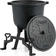 BBQ-Toro Zauberkessel Wizard | Kochtopf aus Gusseisen | Gusstopf mit DREI Beinen, Deckel, Bügel und Feststellschrauben | Hexenkessel 7 Liter