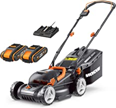 WORX 40V Cordless 34cm Lawn Mower WG779E with 2 x 2.5Ah Batteries & Dual Port Charger, Cutting Height 20-70mm Powershare 3...