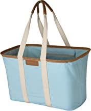 CleverMade 30L SnapBasket LUXE - Reusable Collapsible Durable Grocery Shopping Bag - Heavy Duty Large Structured Tote, Aqua
