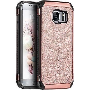 BENTOBEN Samsung S7 Edge Hülle, Galaxy S7 Edge Hülle, S7 Edge case mit PC TPU Cover Kratzfest Glitzer Handyhülle für Samsung Galaxy S7 Edge Rosegold