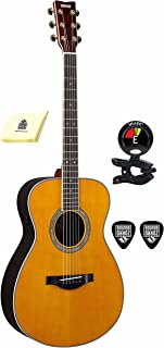 Yamaha LS-TA 6 String Acoustic Electric Guitar Package Includes Guitar Tuner with Guitar Picks and Zorro Sounds Guitar Polishing Cloth (Vintage Tint)
