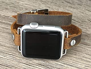 Brown Distressed Leather Band for Apple Watch 38-40mm 42-44mm Adjustable Size Double Tour Wrap Vintage Strap iWatch Bracelet Stainless Steel Jewelry Women Wristband