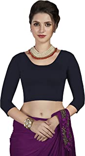 crazy bachat Women's Readymade Indian Designer Navy Blue Stretchable Blouse for Saree Crop Top