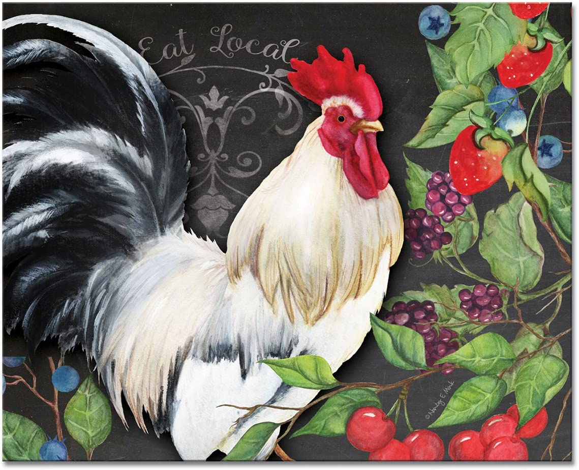 CounterArt 'White Limited time for Beauty products free shipping Rooster' Glass Cutting 15 Board x 12