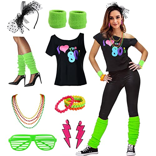 970f0427d3e40 Womens I Love The 80 s Disco 80s Costume Outfit Accessories
