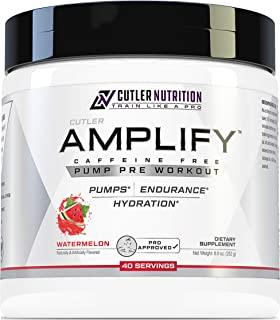 Amplify Caffeine Free Pre Workout for Men and Women: Stim Free Muscle Pump Enhancer, Hydration Powder with Electrolytes, L Citrulline, Creatine HCl for High Volume Training | Watermelon, 40 Servings