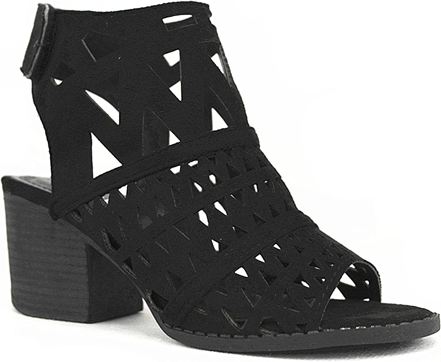S&F SF Nature Breeze Women's Perforated Suede Peep Open Toe Chunky Mule Heel Ankle Cutout Heeled-Sandals
